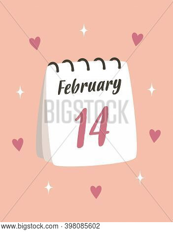 Greeting Card With Calendar, Valentines Day, Calendar With Date, The 14th Of February, Vector Illust