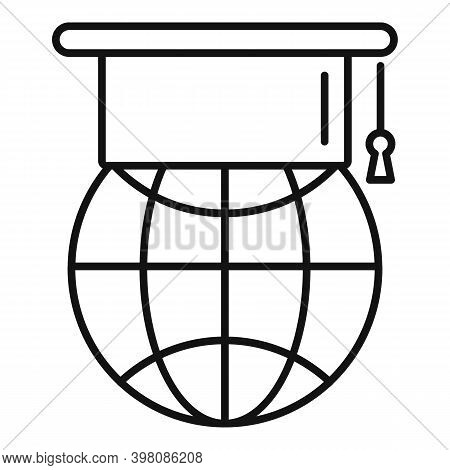 Global Linguist Icon. Outline Global Linguist Vector Icon For Web Design Isolated On White Backgroun