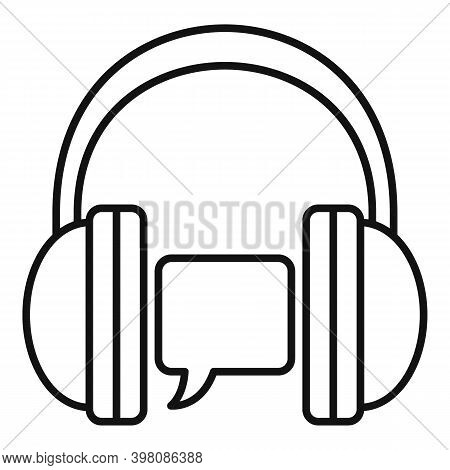 Audio Linguist Icon. Outline Audio Linguist Vector Icon For Web Design Isolated On White Background