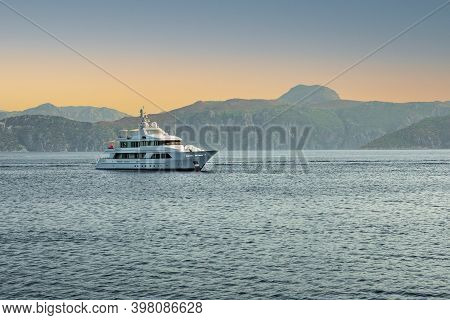 Morning Seascape With Yacht. Seascape With Boats And Yacht On The Mediterranean Bay Of Marmaris, Tur