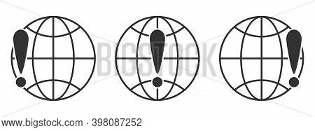 Planet Earth Symbol With Exclamation Mark. Set Of Linear Globe Icons. Vector Illustration. Exclamati
