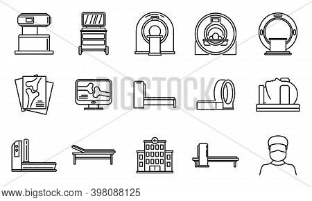 Mri Scan Icons Set. Outline Set Of Mri Scan Vector Icons For Web Design Isolated On White Background
