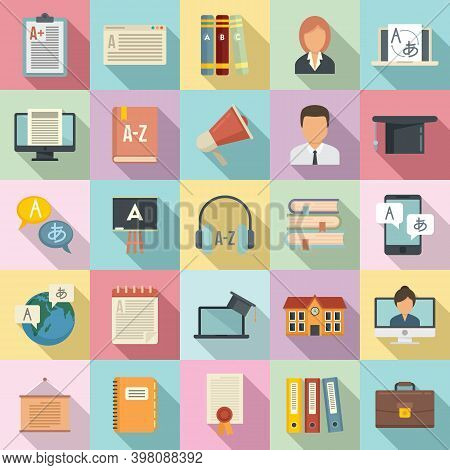 Foreign Language Teacher Icons Set. Flat Set Of Foreign Language Teacher Vector Icons For Web Design