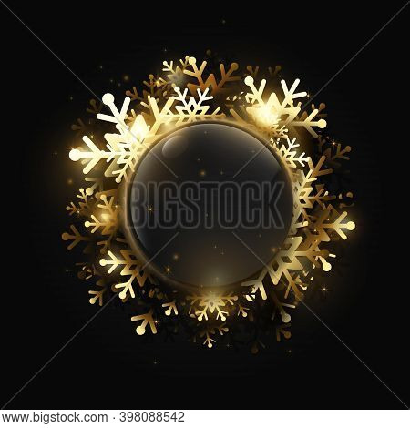 Merry Christmas And Happy New Year. Shining Gold Snowflakes. Greeting Card, Holiday Banner. Vector I