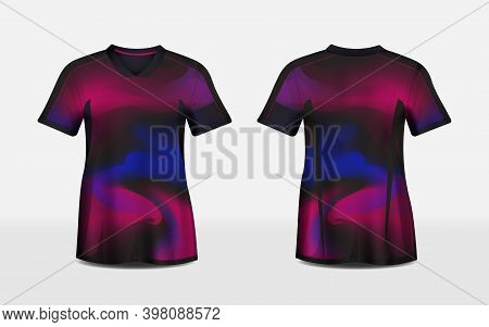 Pink, Purple, And Black Layout E-sport T-shirt Pattern Design Template. Vector Illustration