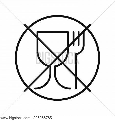 Not Food Grade Plastic. Vector Sign Isolated. Not Food Safe Material. Wine Glass And Fork Symbol