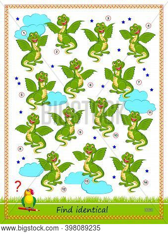 Logic Puzzle Game For Children And Adults. Find Two Identical Dragons. Printable Page For Kids Brain