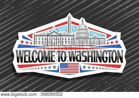 Vector Logo For Washington, Decorative Sign With Line Illustration Of Famous Washington City Scape O