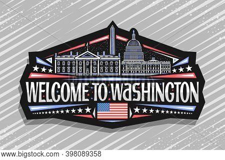 Vector Logo For Washington, Black Decorative Label With Illustration Of Famous Washington City Scape