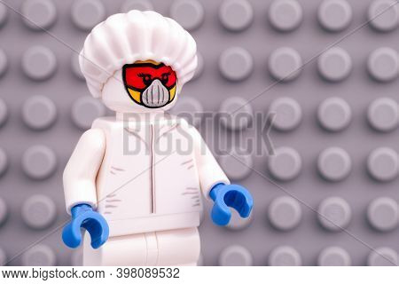 Tambov, Russian Federation - April 30, 2020 Lego Scientist Minifigure In Protective Suit Against Gra