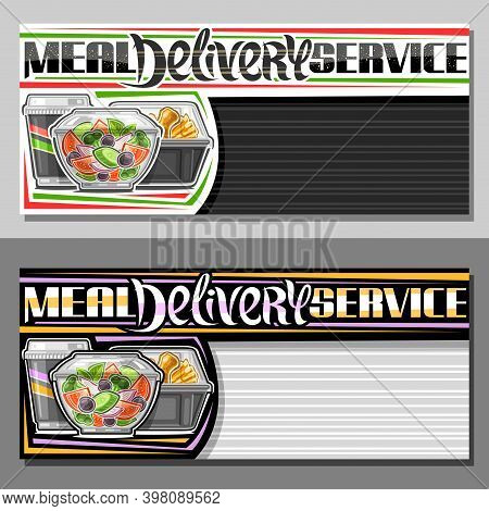 Vector Templates For Meal Delivery Service With Copy Space, Decorative Coupon With Illustration Of F