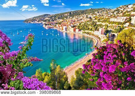 Villefranche Sur Mer Idyllic French Riviera Town Aerial Bay View, Alpes-maritimes Region Of France