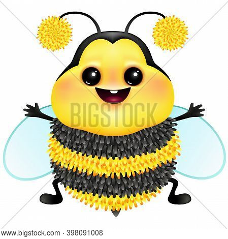 Cute cartoon fluffy bee on white background. Funny bumblebee for greeting card design .Vector illustration.