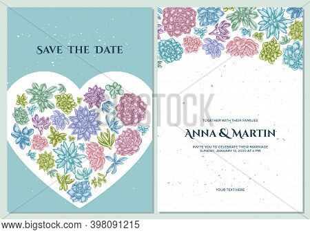 Wedding Invitation Card With Pastel Succulent Echeveria, Succulent Echeveria, Succulent Stock Illust