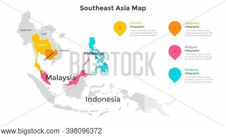 Map Of Southeast Asia With State Boundaries. Southeastern Part Of Asian Region With Territorial Divi