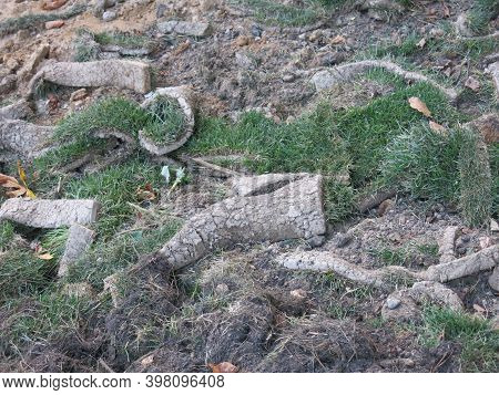 Earth, Soil, And Turf Dug Up In Summer With Grass