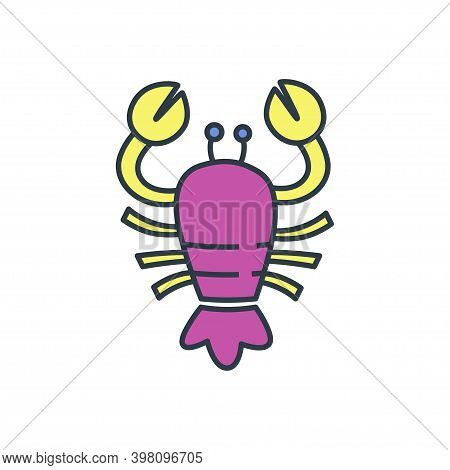 Colorful Cancer Vector Icon. Illustration Of An Astrology Sign. Zodiac Astrology Sign Depicting Arth