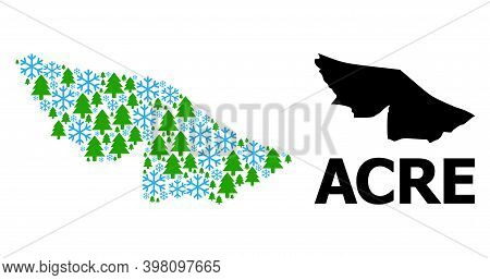 Vector Mosaic Map Of Acre State Designed For New Year, Christmas, And Winter. Mosaic Map Of Acre Sta