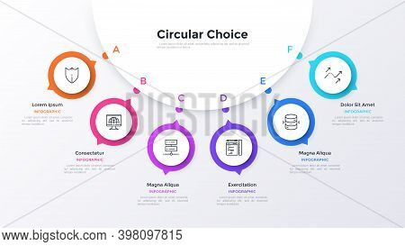 Modern Diagram With Six Round Elements Connected To Main Paper White Circle. Concept Of 6 Business O