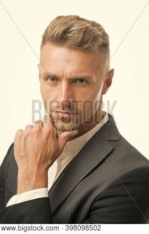 Go To Barber. Serious Man Touch Beard Hair. Handsome Bachelor With Unshaven Face. Beard Barber. Male