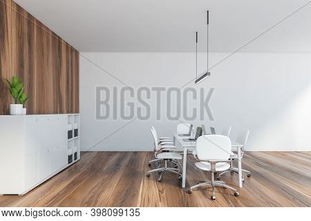 Wooden And White Office With Shelf, Bookcase For Business Folders. White Armchairs With Office Table