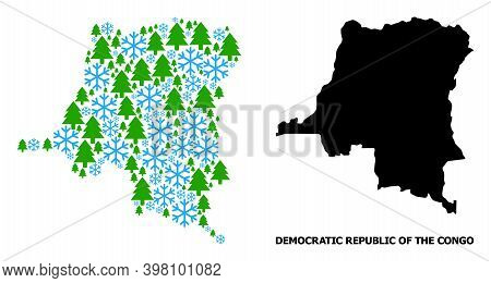 Vector Composition Map Of Democratic Republic Of The Congo Organized For New Year, Christmas, And Wi