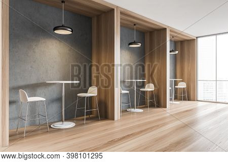 Beige Bar Chairs With High Beige Tables, Side View, Wooden Partition In Dining Room. Wooden Floor In
