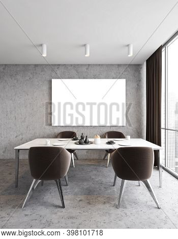 Mockup Canvas In Dining Room With Four Brown Chairs And White Table Near Window, Grey Walls And Floo