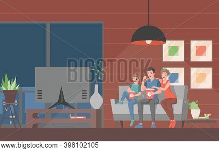 Family Watching Movie Or Tv Show On Television Vector Flat Illustration. Mother, Father, And Son Sit
