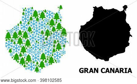 Vector Mosaic Map Of Gran Canaria Combined For New Year, Christmas, And Winter. Mosaic Map Of Gran C