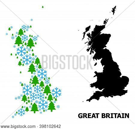 Vector Mosaic Map Of Great Britain Created For New Year, Christmas, And Winter. Mosaic Map Of Great