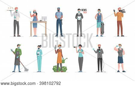 Group Of People Of Different Professions. Labor Day Vector Flat Concept. Policeman, Doctor, Gardener