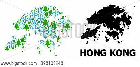 Vector Mosaic Map Of Hong Kong Done For New Year, Christmas, And Winter. Mosaic Map Of Hong Kong Is
