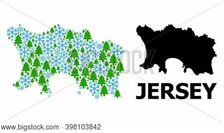Vector Mosaic Map Of Jersey Island Organized For New Year, Christmas, And Winter. Mosaic Map Of Jers