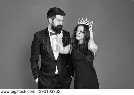 Bearded Man Sexy Girl. Royal Party. Prom Couple In Formal Style. Prom Party. Holiday Celebration. Ac