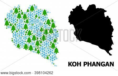 Vector Mosaic Map Of Koh Phangan Constructed For New Year, Christmas, And Winter. Mosaic Map Of Koh