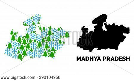 Vector Mosaic Map Of Madhya Pradesh State Organized For New Year, Christmas, And Winter. Mosaic Map