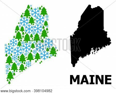Vector Mosaic Map Of Maine State Organized For New Year, Christmas, And Winter. Mosaic Map Of Maine