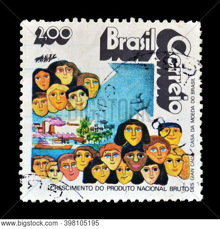 Brazil - Circa 1972 : Cancelled Postage Stamp Printed By Brazil, That Shows Gross National Product A