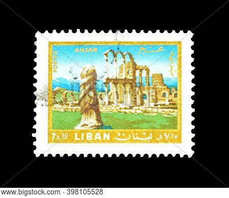 Lebanon - Circa 1972 : Cancelled Postage Stamp Printed By Lebanon, That Shows Ruins Of Anjar, Circa