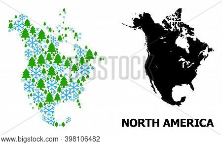 Vector Mosaic Map Of North America Done For New Year, Christmas, And Winter. Mosaic Map Of North Ame