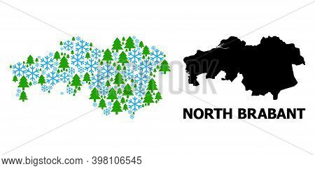 Vector Mosaic Map Of North Brabant Province Organized For New Year, Christmas, And Winter. Mosaic Ma