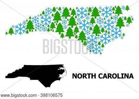 Vector Mosaic Map Of North Carolina State Constructed For New Year, Christmas, And Winter. Mosaic Ma