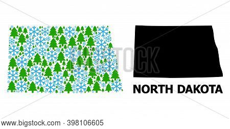 Vector Mosaic Map Of North Dakota State Organized For New Year, Christmas, And Winter. Mosaic Map Of