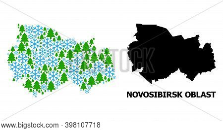 Vector Collage Map Of Novosibirsk Region Organized For New Year, Christmas, And Winter. Mosaic Map O