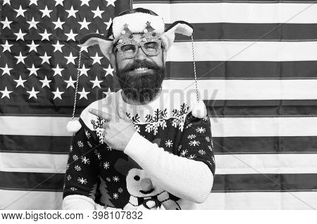 Hey Look. Happy Hipster Point Index Finger At Something. Bearded Man Point And Laugh. American Flag
