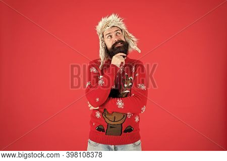 Make Christmas Wish. Life Changing Decision. Hipster Bearded Man Wear Winter Sweater And Hat. Happy