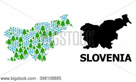 Vector Mosaic Map Of Slovenia Organized For New Year, Christmas, And Winter. Mosaic Map Of Slovenia