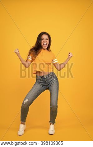 Scream Of Happiness. Happy Winner Yellow Background. Pretty Girl Feel Happiness. Sexy Woman Enjoy Ha