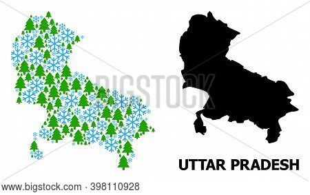 Vector Mosaic Map Of Uttar Pradesh State Created For New Year, Christmas, And Winter. Mosaic Map Of
